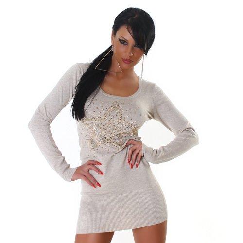 Jela London Damen Strickkleid Kleid Nieten-Stern Onesize trendiges Design Beige