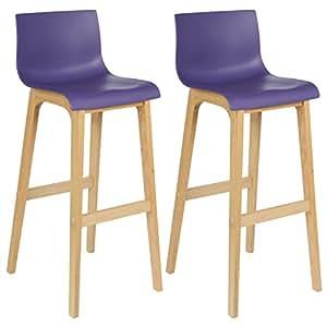 WOLTU® BH47la-2 Tabouret de bar lot de 2 en bois et plastique,chaise avec dossier,Violet