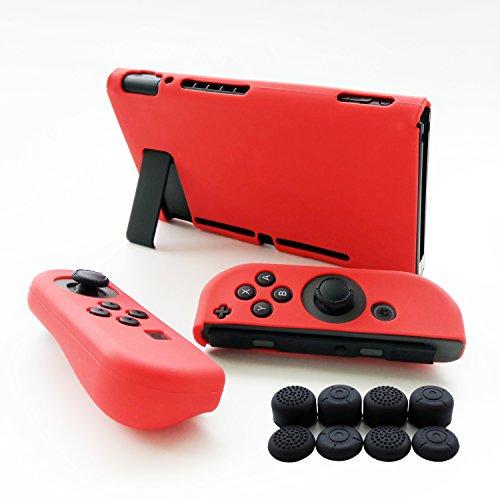 Hikfly Silikon Gel Rutschfester Handgriff Anti-Rutsch Abdeckung Haut Schutz Kits für Nintendo Switch Konsolen und Joy-Con Controller Mit 8pcs Silikon Gel Daumengriffe Caps (Rot) (3ds-docking-station)