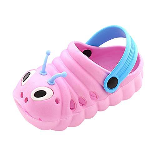 Kinder Cute Cartoon Jelly Schuhe Sandalen Weiche Hausschuhe Kleinkind Jungen und Mädchen Strand Flip Schuhe Hause Rutschfeste Drag (23 EU, Pink) -