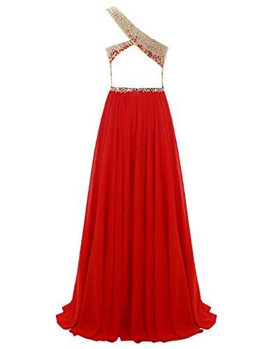Dresstells, Robe de soirée Robe de cérémonie Robe de bal longue emperlée pailletée forme empire épaule asymétrique dos nu Rose