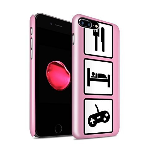 STUFF4 Glanz Snap-On Hülle / Case für Apple iPhone 8 Plus / Fußball/Blau Muster / Essen/Schlaf Kollektion Spiel/Gaming/Rosa