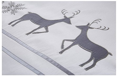 Christmas Embroidered Reindeer King Quilt Duvet Cover & 2 Pillowcase Bedding Bed Set Xmas Grey White