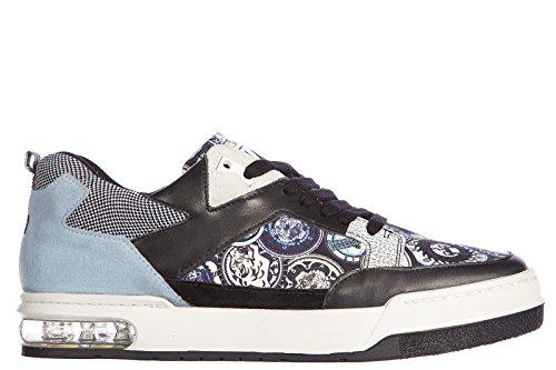 Kenzo scarpe sneakers uomo in pelle nuove yale multilogo blu EU 41 M47955