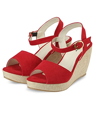 Nell Women Red Solid Wedges ( Size-39)  available at amazon for Rs.345