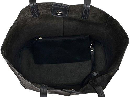 Gusti Leder studio ''Cassidy'' borsa a mano shopper da donna tablet città lavoro tempo libero pelle di bovino nero 2H51-33-7
