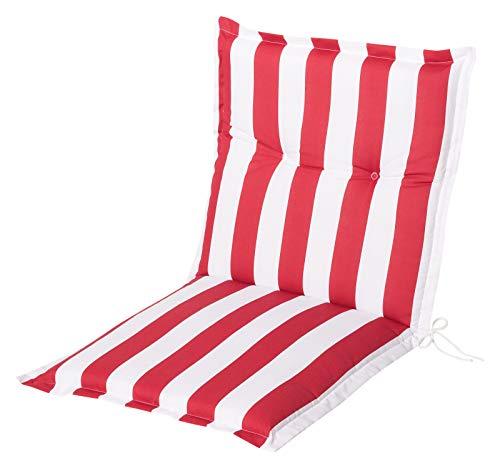 Schwar Textilien Stuhlauflage Niedriglehner Auflage Sitzauflage Gartenstuhlauflage Streifen rot weiß