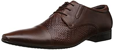 Egoss Men's Tan Leather Formal Shoes - 11 UK (FO-89E)
