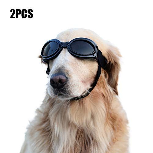 YOCC Dog Goggles Sonnenbrillen, Faltbare Pet Eye Wear UV-Schutzbrillen, verstellbare, Winddichte Brille, für mittlere und große Hunde, Schwarz