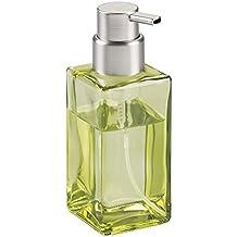 mDesign Dispensador de jabón en espuma rellenable de 414 ml – Refinado dosificador de jabón de cristal con válvula – Dispensador de jabón de manos – Ideal para la cocina o el baño – Color verde