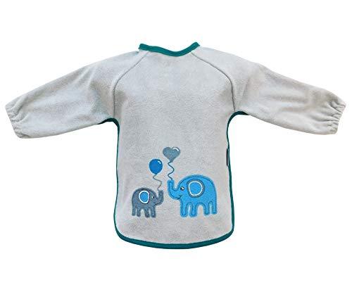schlummersack Baby Lätzchen wasserdicht mit langen Ärmeln - Elefanten Unisex - für Jungen und Mädchen von 6-24 Monaten