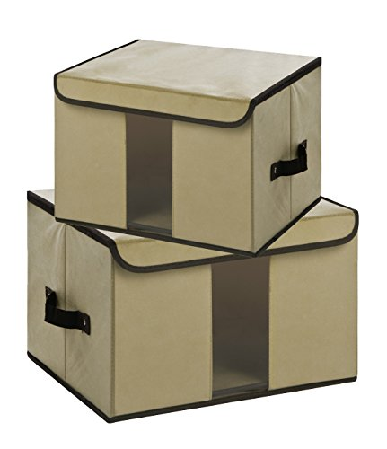Faltbare Vorratsdosen mit Deckel, Aufbewahrung Cube Korb Set 2, groß Aufbewahrung canbinet mit transparentem Fenster Solid-cream (Speicher-behälter-set Mit Deckel)