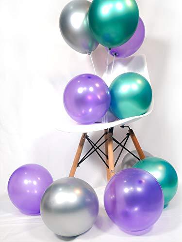 PuTwo Globos de Fiesta 50 Piezas Globos de Látex & Globos de Cromo Globos de Cumpleaños Globos de Helio Decoración para la Fiesta de Cumpleaños Fiesta de la Sirena - Morado Oscuro & Verde & Plateado