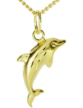 InCollections Damen-Anhänger 333/000 Gold inklusive Panzerkette  Delfin 42 cm 2410100031401