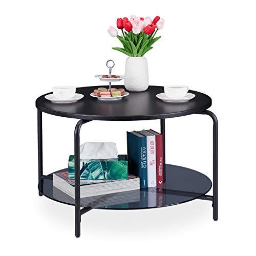 Relaxdays Couchtisch, rund, mit 2 Tischplatten, Wohnzimmertisch für Deko, Getränke, Zeitschriften, HxD 45x80 cm, schwarz