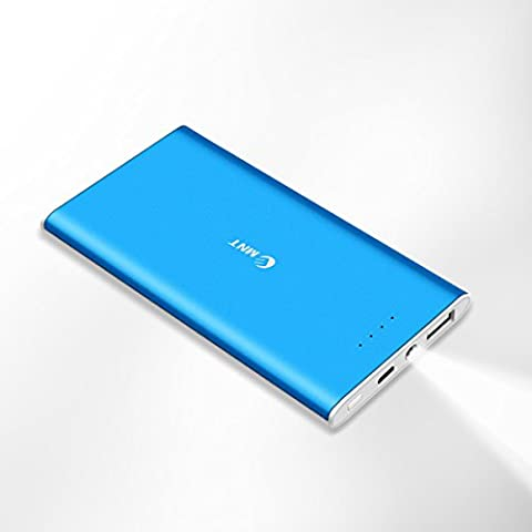 Power Bank 5500mAh, EMNT Ultra Slim Portable Phone Charger Compact External Battery Pack with LED Indicator and Torch for iPhone 7 6 6s plus, Samsung Galaxy S6 S7 edge and More(Blue)