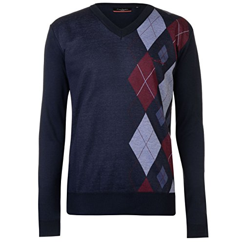 Pierre Cardin Herren Argyle Pullover V Ausschnitt Langarm Blau/burg XXL (Argyle Top Knit)