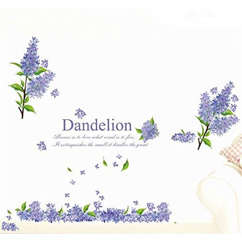 3d lila löwenzahn wandaufkleber kreative romantische lavendel blume schmetterling wohnkultur wand schlafzimmer wände entfernen poster