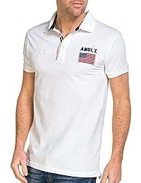Deeluxe 74 - Polo homme blanc drapeaux brodé