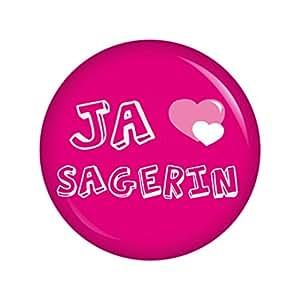 Ja-Sagerin rosa Button Ansteckbutton 37mm Junggesellenabschied und Hochzeit