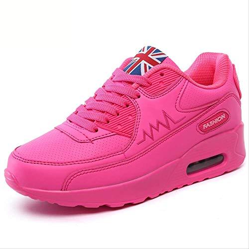 Rosa Leder Wohnungen (NAYDX Frauen Turnschuhe Schuhe Atmungsaktive Trainer Frau Leder Casual Tenis Feminino Sapato Frauen Wohnungen Zapatillas Mujer 5.5 rosa Leder)