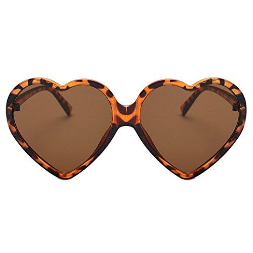 Makefortune Frauen Sonnenbrillen, Frauen Retro Fashion Heart-shaped Shades Damen Sonnenbrille Integrierte UV-Brille (Braun)
