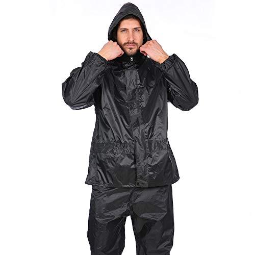 Cysincos Herren Fahrrad Regenanzug Motorrad Regenmantel und Regenhose Set Wasser- und Winddicht Regenjacke Kapuzenjacke Visible Reflektierend