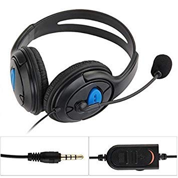 GEZICHTA Gaming Headset 3.5 mm Wired cuffie stereo over-head, RV77 Wired Gaming chat stereo Bass Dual Ear Cup Headset cuffie con microfono microfono per Sony PlayStation 4 PS4