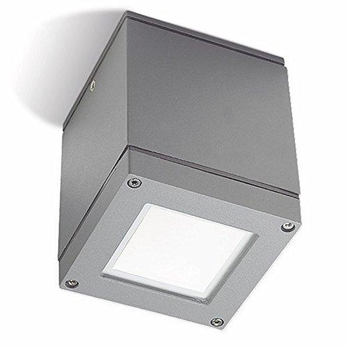 OUTDOOR LEDs C4 éclairage d'extérieur Afrodita en Aluminium injecté carré Plafond Luminaire avec diffuseur en Verre Transparent, Gris
