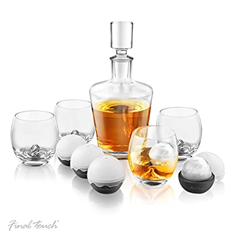 Final Touch On The Rock Glass WHISKEY DECANTER SET - 10 Piece Set Includes Whisky Glasses / Silicone Ice Ball Moulds / Decanter & Stopper