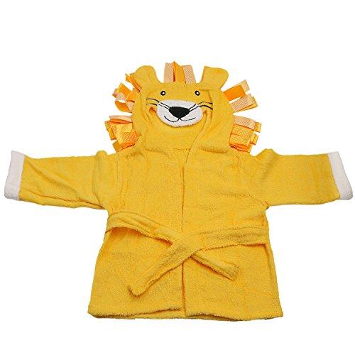 Runer 100% Baumwolle Baby Bademantel, Bademantel für Kinder, Baby Bademantel Handtuch (Löwe Design, gelb Farbe)