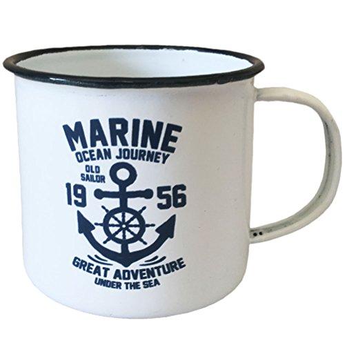 Tasse Mug Blanche MArine Retro 13 cm