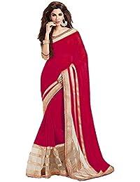 Nena Fashion Women's Georgette Saree With Blouse Piece (Nenasaree-04, Red, Free Size)