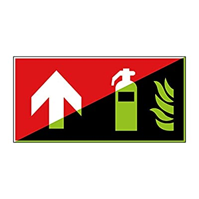 Feuerlöscher Brandschutzzeichen 300x150mm - lang nachleuchtend – Aluminiumschild - gem. ASR 1.3, DIN ISO 7010 (F001+Pfeil oben)