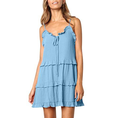 GNYD Damen Kleider Elegante Sommer Mode reizvolle Rüschen beugen Schulter ärmelloses Prinzessin Kleid