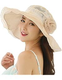 Pamelas para Bodas - Dizoe Kentucky Sombrero ala Ancha con Visera Gorra Organza Sol de Verano Fiesta Vintage