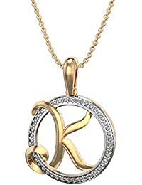 "Silvernshine Alphabet 'K' In Circle Pendant 14K Yellow Gold Fn 1.2 Ct White CZ With 18"" Chain"