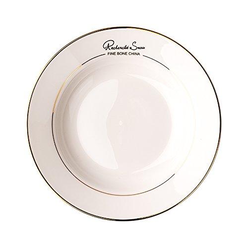 YUWANW Kreative Continental Bone China Geschirr Keramik-Schale West Phnom Penh Home-Plate Suppenteller Tiefen Teller Teller Teller Nudelgericht (Trim Gold China Bone)