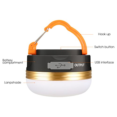 41ESID1IIsL. SS500  - Camping Light, GLISTENY Waterproof tent Light outdoor LED Lantern with 1800mAh Power Bank, 5V USB Rechargeable Built-in Battery, Magnetic Portable with 3 Modes for Camping, Hiking, mountaineering