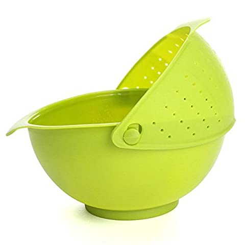 Bluelover 2-in-1 Vegetables Basin Wash Rice Sieve Fruit Bowl Fruit Basket Kitchen Gadget Green
