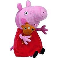 TY 7196230 - Peppa Large - Schwein mit rotem Kleid und Bär, 25 cm