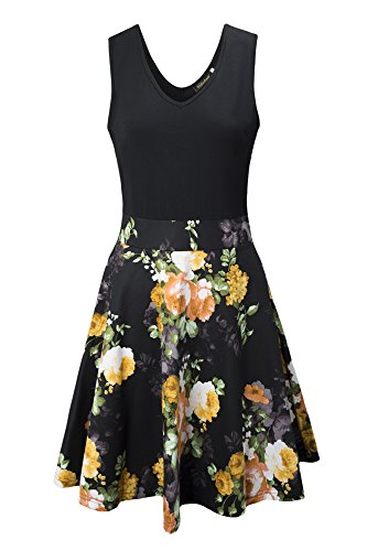 Yidarton Women's Vintage Dress V Neck Sleeveless A Line Mini Dress Cocktail Party Floral Summer Dress(ye-l)