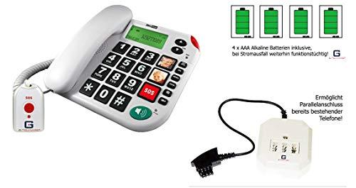 Senioren Festnetztelefon mit SOS Fernbedienung von G-TELWARE®in DEUTSCH/HÖRGERÄTE-tauglich/ 4 Batterien/TAE/NFF Adapter/ 2 Jahre GARANTIE!
