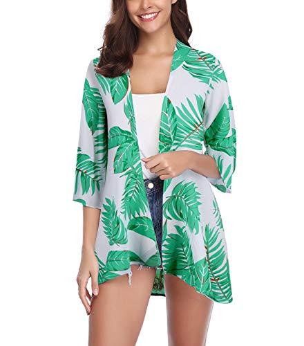 Grün Floral Bluse (Aibrou Damen Sommer Boho Strand Kimono Florale Tops Cardigan Chiffon Shawl Bluse Beachwear Bikini Cover up Leichte Jacke Oberteil (Grün, XX-Large))