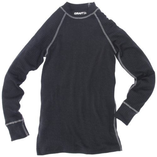 Craft zero - maglietta intima maniche lunghe a girocollo per bimbi, taglie e colori assortiti, nero (nero), 110-116