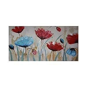 Mendola Art da 218opgn3979dipinto a mano blu Poppy, 60x 120cm