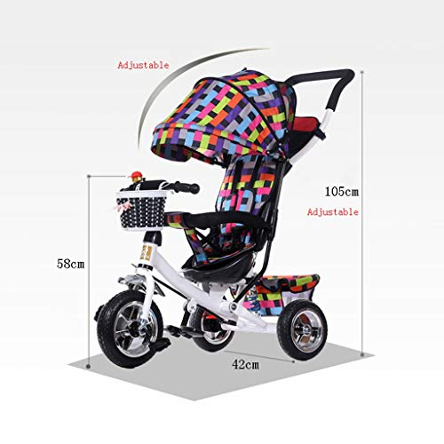 Children's 3-Wheeler, Folding Young Children's Car, 1-5 Year Old Child Car, Baby Stroller (Color : A)  Hujindong