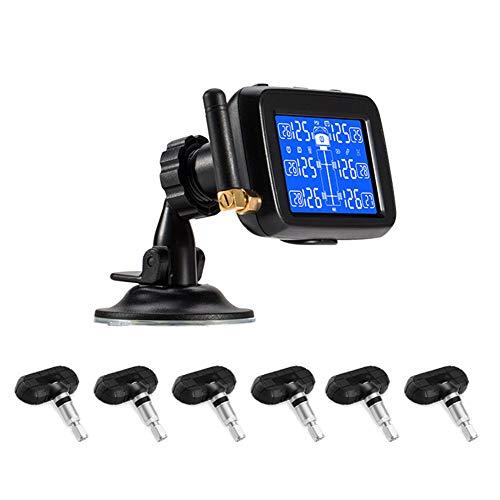 TPMS Pneumatico Pressione Monitoraggio System RV Rimorchio del camion Vero Tempo Tenere sotto controllo Temperatura Aria Perdita Batteria Allarme con addebitabile Grande LCD 6 sensori ,Builtinsenso