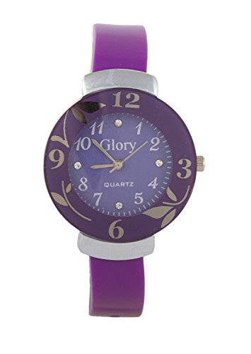 Talgo 2017 Flower Leaf Printed On Round Shaped Dial Purple Color New Trendy Stylish Rubber Streaped Watch For Woman And Girls