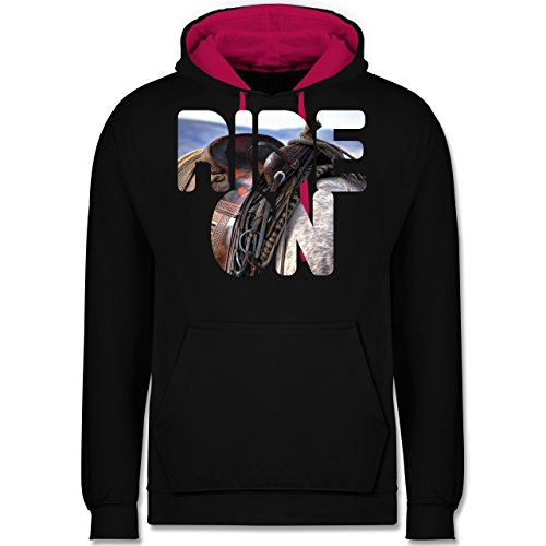 Statement Shirts - Ride on Pferd reiten - Kontrast Hoodie Schwarz/Fuchsia